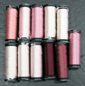 11x Needlepoint/Embroidery THREAD KREINIK Silk Serica 3 ply silk-pinks-XW31