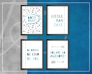 Little Man Cave Nursery Prints Bedroom Decor Boys Rule Be Brave Wall Art Awesome