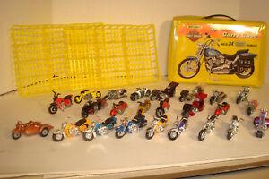 LOT OF 24 VINTAGE LESNEY MATCHBOX HOTWHEEL MOTORCYLES  & MATCHBOX CARRYING CASE