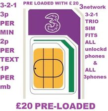 Official Pay as You Go Three 3 Network (nano Micro Standard) SIM Card 321 Plan