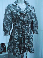 ladies grey and white flared 3/4 length coat size 14