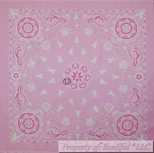 BonEful Fabric Cotton Quilt Block Square Pink White Breast Cancer Bandana Lady L