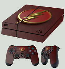 PS4 Skin Flash Logo 01 Superhero Lightning New Sticker + 2 X Pad decal Vinyl LAY