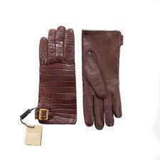Burberry Damen Krokodil Schnalle Handschuhe Weinrot Kaschmir Gefüttert Größe 8