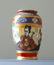 """VINTAGE PORCELLANA GIAPPONESE moriage hand painted Gilded 3 3/4 """"GEISHA VASO"""