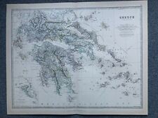 1881 GREECE LARGE HAND COLOURED ORIGINAL ANTIQUE MAP BY JOHNSTON