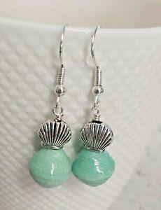 Silver Shell & Mint Green Bead Silver Tone Drop Earrings - *NEW*