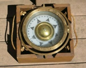 Early Vintage E.S. Ritchie Nautical Gimbal Directional Compass Solid Brass BOX