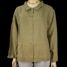 NEW Silhouettes Woman Olive Lightweight Linen Jean Jacket Size 1X