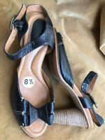 "Wms FOSSIL Black Leather 4"" Wood Heel Open Toe Sandal Bowtie Accent Sz 8.5M"