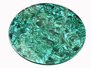 """42"""" Marble round Table Top Pietra dura malachite Inlay handcrafted Work"""