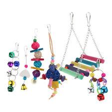 6 PCS Bird Swing Toys Set - String of Bells, Rattan Balls for Parrots Budgie