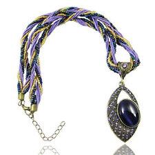 Vintage Jewellery Antique Gold & Purple Eye Shape Pendant Necklace N127