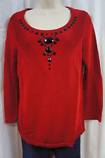 Jones New York Collection Top Sz M Ruby Black Embellished Long Sleeve Sweater