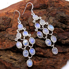 Christmas Special Natural Moonstone Long Dangle Earring 925 Silver Jewelry 2.7""
