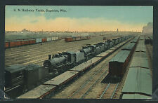 WI Superior LITHO 1910's GN RR RAILWAY YARDS Great Northern Locomotives ENGINES