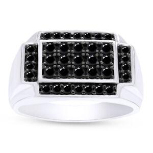 1.00 Ct Round Black Natural Diamond Men's Band Ring 14K White Gold Over Silver