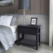 Black Wood Bedside Table Drawer Storage Smal End Cabinet Bedroom Nightstand