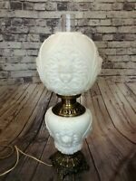Antique White Glass Baby Cherub Face Gone With The Wind Electric Table Lamp