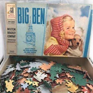 VTG 1950s 1960s Big Ben Interlocking Jigsaw Puzzle Girl Dog Springfield MA 4962
