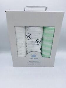 Cloud Island Muslin Swaddle Blankets 3 Pack Pandas Star Green Stripe 100% Cotton