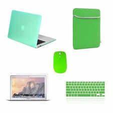 "5 IN 1 Macbook Air 13"" Rubberized Green Case + Keyboard Cover + LCD + Bag +Mouse"