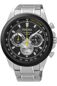 Orologio Uomo SEIKO NEO SPORT SSB247P1 Chrono Bracciale Acciaio Nero Sub 100mt