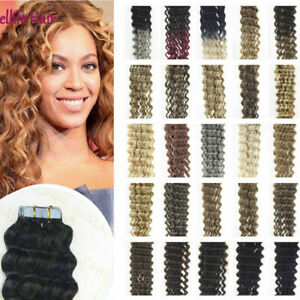 """18"""" Tape In Curly & Wavy 100% Remy Human Hair Extensions Thick Skin Weft AUS"""