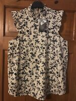 New Look Cream/Black Floral Smock Neck Frill Sleeve Maternity Top Size 12