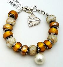 New Sterling Silver 925 Murano Glass Gold Cream Heart Charm Beads Bracelet 7' in