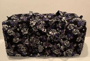 NEW Vera Bradley Large Traveler Duffel Bag Frosted Floral Pattern Foldable Black