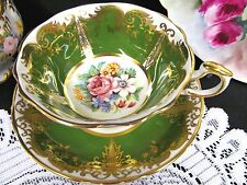 Paragon tea cup and saucer green & floral gold gilt work KINGSTON pattern teacup