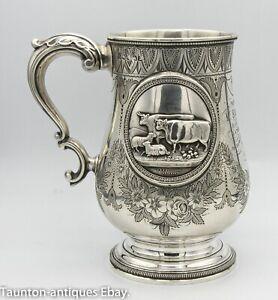 Large 1.5 pint tankard Exeter solid silver cows animal 1869 Josiah Williams 444g