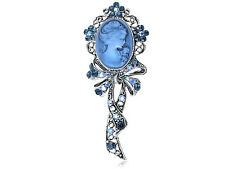 Fashion Blue Sapphire Diamante Rhinestone Cameo Maiden Ribbon Bow Pin Brooch