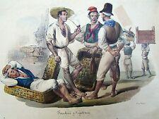 Set of Four Antique 19c. Italian Colored Lithographs.