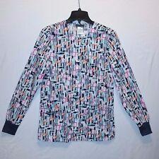 Cherokee Geometric Print Snap Front Women Collarless Crew Neck Warm Up Jacket L