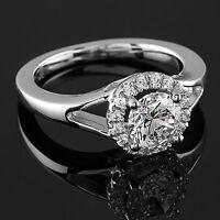 1.32 CT ROUND CUT NATURAL DIAMOND HALO ENGAGEMENT RING 14K WHITE GOLD ENHANCED