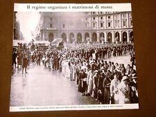 Il Fascismo in Italia Anni '30 Roma Matrimoni di massa 30 coppie S.Maria Angeli