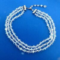 Vintage Triple Strand Clear Crystal Glass Bead Necklace Choker 14-17 inch