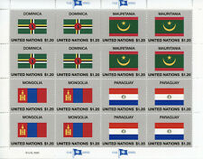 More details for united nations un flags stamps 2020 mnh flag series 57 mongolia paraguay 16v m/s