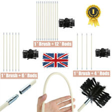 Flexible Chimney Sweep Set Flue Sweeping Brush & Rod Kit Soot Cleaning Rods UK