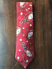 "TABASCO MEN'S GOLF RED TIE 100% SILK 58"" X 4"" MADE IN USA"