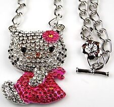 Hello Kitty Necklace Pink Bow Dress Crystal Fashion Jewelry