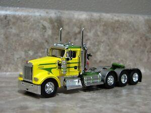 DCP 1/64 Green Yellow Kenworth W900 Daycab Tri-Axle Semi Truck Farm Toy