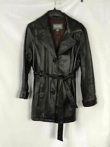 Wilsons Leather Black Leather Trench Coat - Size Large Women's