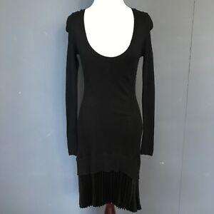 Victorias Secret Cashmere Sweater Dress XS Black Cotton Pleated Long Warm Winter