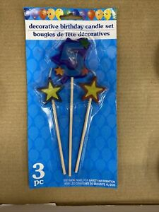 Decorative Birthday Candle Set Party Number 1 Green with Stars Red Blue Yellow