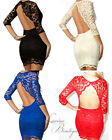 GENUINE ASOS John Zack Backless Scalloped Lace Dress Sz 10-14 Black/Cream/Blue