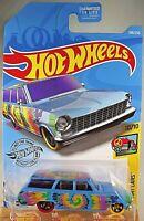 2019 Hot Wheels #188 HW Art Cars 10/10 '64 CHEVY NOVA WAGON Blue w/Yell-Purp Whl