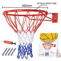 Pro Size Wall Mounted Basketball Hoop Ring Goal Net Dunk Shooting Outdoor
